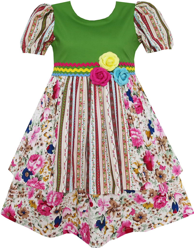 Girls Dress Short Sleeve Princess Flower Print Green Size 4-10 Years