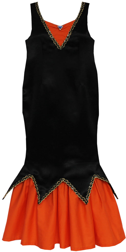 Girls Dress Halloween Witch Costume Black Orange Pumpkin Size 7-14 Years