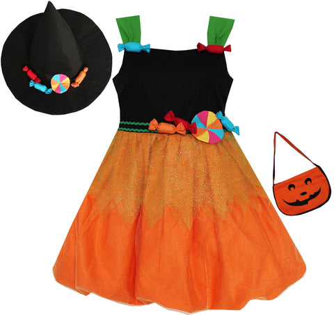 Girls Dress Halloween Candy Pumpkin Handbag Orange Black Size 4-8 Years