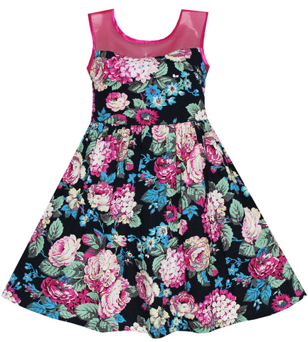 Girls Dress Sleeveless Transparent Shoulder Flower Size 7-14 Years
