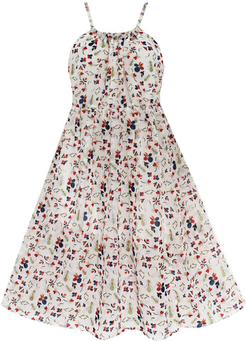 Girls Dress Sleeveless Sling Flower Party Size 7-14 Years