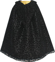 Girls Dress Halloween Cloak Black Leopard With Hood Size 7-14 Years
