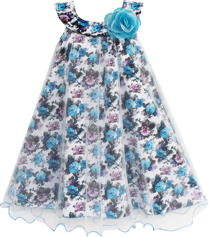 Girls Dress Tulle Overlay Flower Detailing Size 7-14 Years