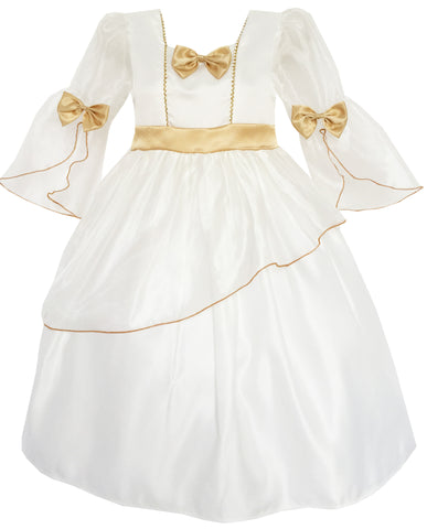 Flower Girl Dress Champagne Bow Tie Tulle Wedding Bridesmaid Size 4-14 Years