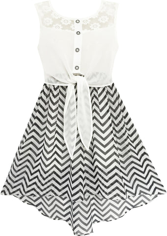 Girls Dress Lace To Chiffon Striped Black White Tied Waist Size 7-14 Years