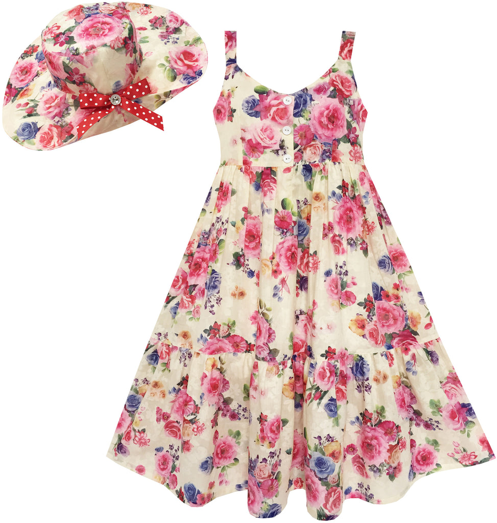 Girls Dress Full Length Flower Print With Hat Flower Pink Size 7-14 Years