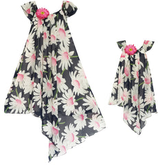 Matching Mother Daughter Flower Dress Pink Size 7-14 Years
