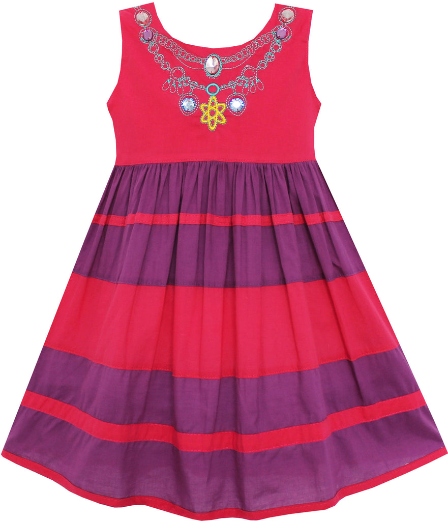 Girls Dress Little Girls Color Block Striped With Beading Red Size 12M-5 Years