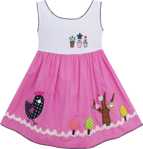 Girls Dress Little Girls Embroidery Flower Chick Tree Pink Size 6M-3 Years