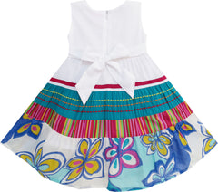 Girls Dress Little Girls Floral Striped Embroidery Butterfly Size 12M-5 Years