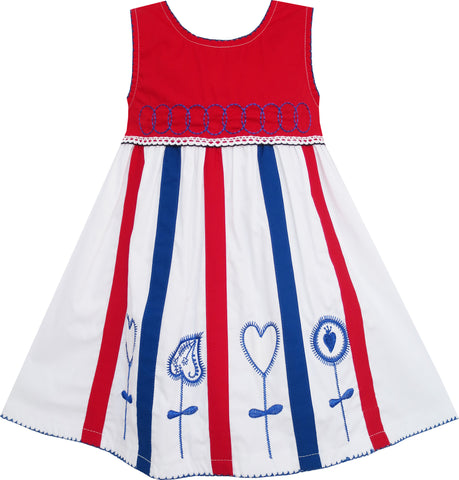 Girls Dress Little Girls Striped Embroidery Circles Heart Size 6M-3 Years