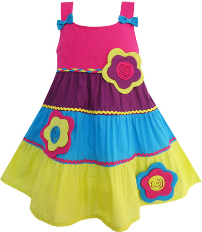 Girls Dress Little Girls Color Blocks Flower Detailing Size 12M-5 Years