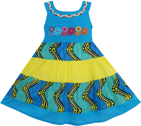 Girls Dress Little Girls Color Blocks Embroidery Flower Blue Size 12M-5 Years