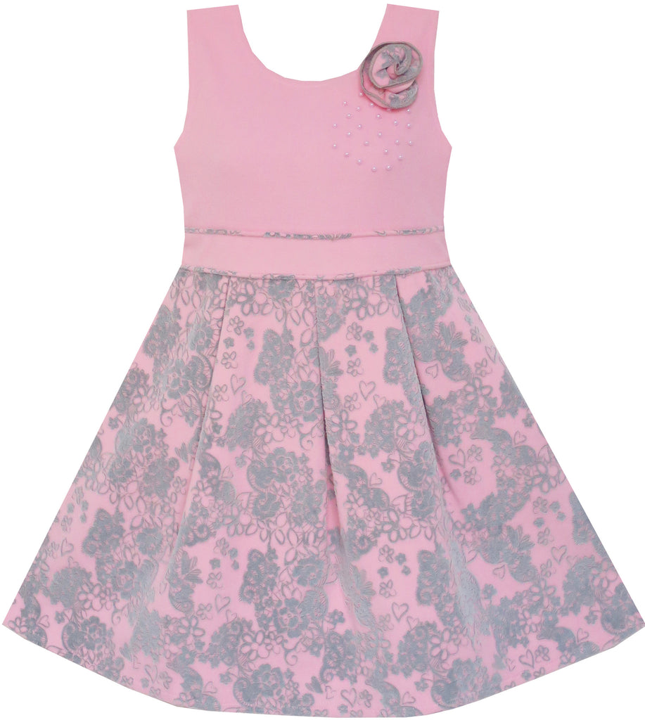 Girls Dress Princess Worsted Winter Christmas Flower Pink Size 4-10 Years