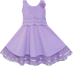 Girls Dress Princess Worsted Winter Christmas Lace Purple Size 6-10 Years