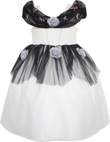 Flower Girl Dress Princess Rose Mesh Sequin Party Black Size 4-14 Years