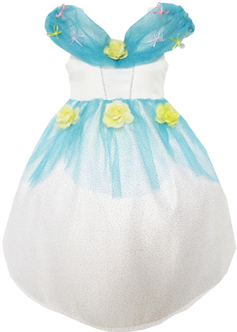 Flower Girl Dress Princess Rose Mesh Sequin Party Blue Size 4-14 Years