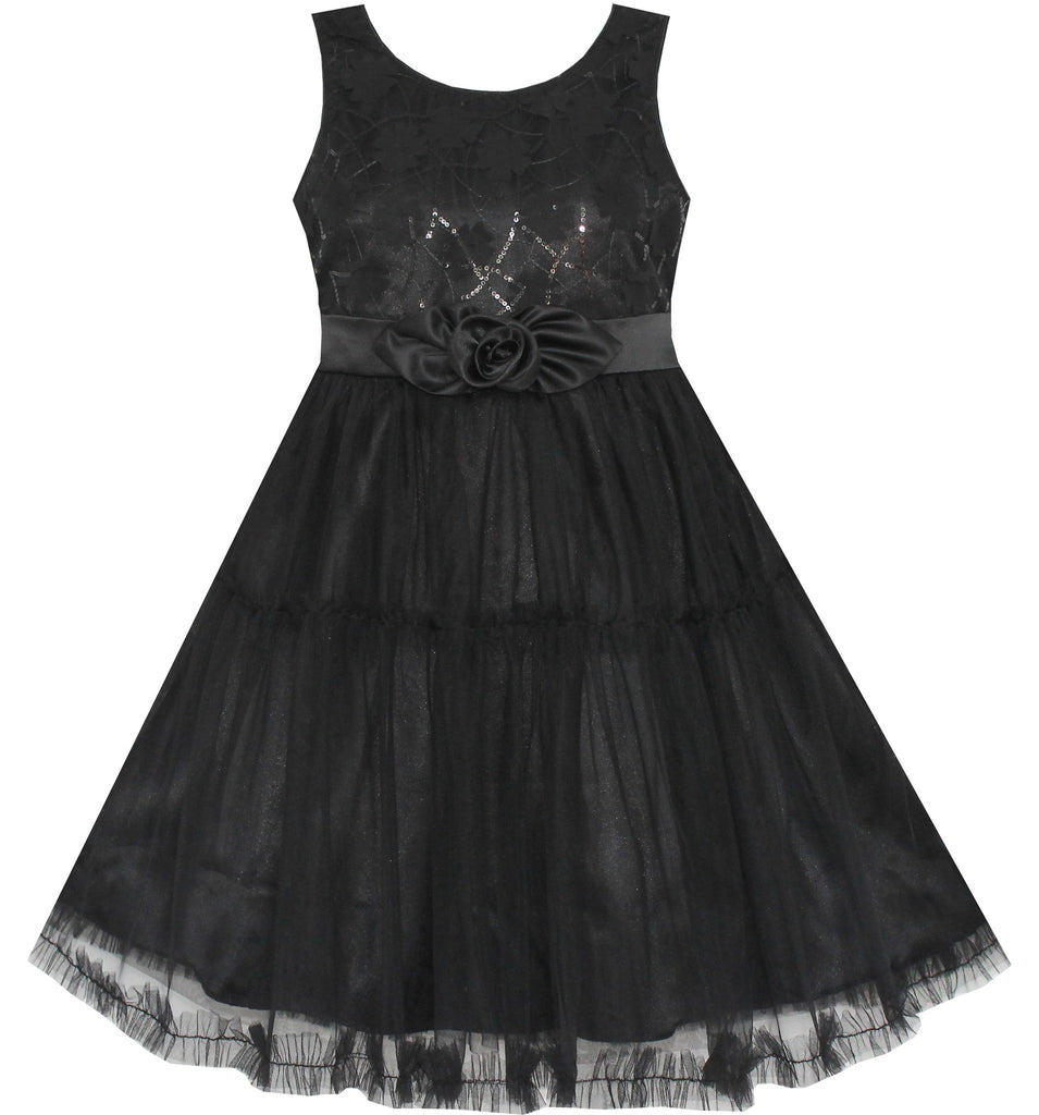 Girls Dress Shinning Sequins Tulle Layers Party Pageant Black Size 2-10 Years