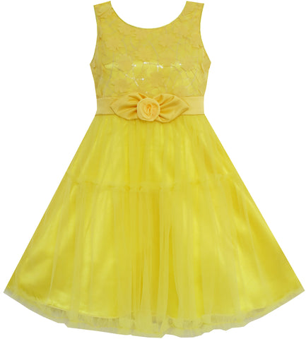 Girls Dress Shinning Sequins Tulle Layers Party Pageant Yellow Size 2-10 Years
