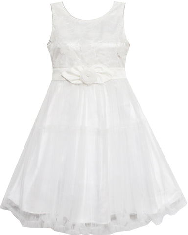 Girls Dress Shinning Sequins Tulle Layers Party Pageant White Size 2-10 Years