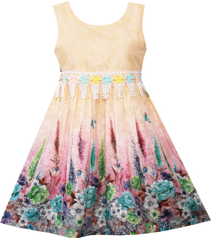 Girls Dress Rose Flower Garden Print Lace Trim Waist Size 4-12 Years