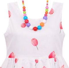 Girls Dress Tulip Flower Garden With Necklace Pink Size 4-12 Years