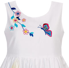 Girls Dress Butterfly Seeking Flower Embroidery Chinese Style Size 4-12 Years