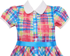 Girls Dress Turn Down Collar Checkered Princess Size 7-14 Years
