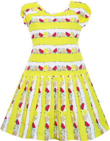 Girls Dress Lemon Color Watermelon Orange Pear Print Size 7-14 Years