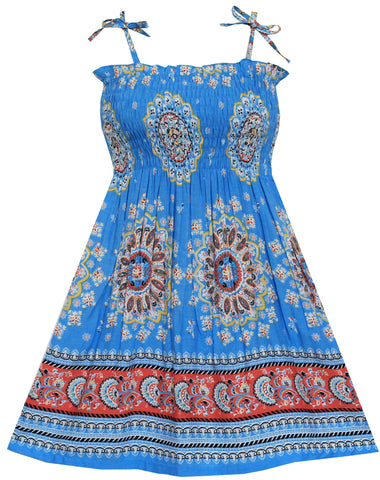 Girls Dress Smocked Halter Paisley Blue Size 2-10 Years