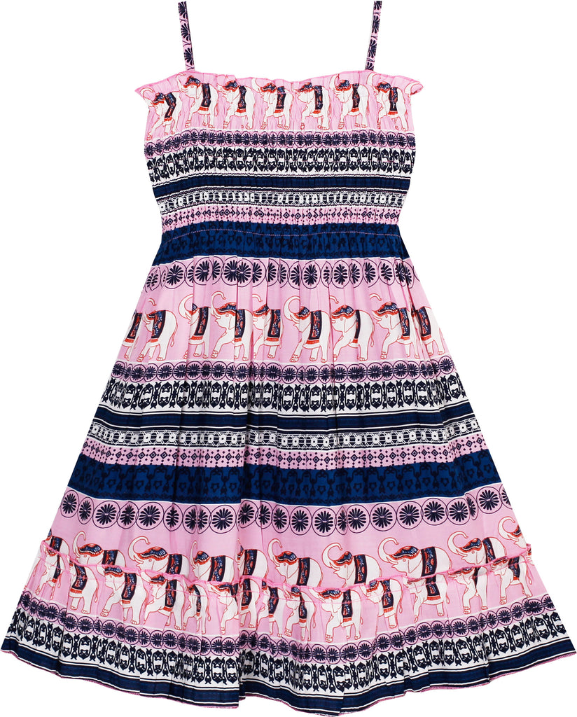 2d822a65e179d Girls Dress Smocked Halter Striped Elephant Print Pink – Sunny Fashion