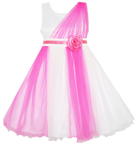 Girls Dress Elegant Wedding Gown Bridesmaid Tulle Flower Size 4-10 Years