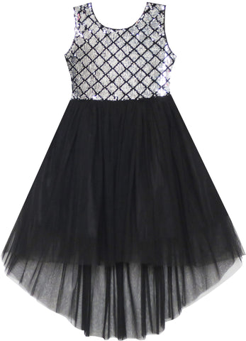 Girls Dress Sequin Mesh Party Wedding Princess Tulle Size 7-14 Years