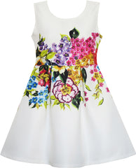 Girls Dress Flower Garden Print Elegant Chinese Style Size 4-10 Years