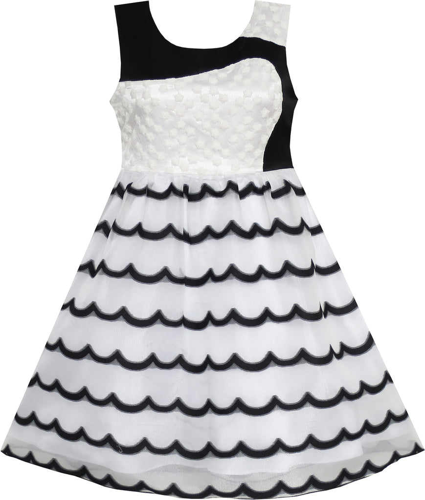 Girls Dress Sleeveless Lace Tulle Wave Pattern Black White Size 4-10 Years
