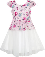 Girls Dress Flower Detailing With Tulle Overlay Pink Size 7-14 Years