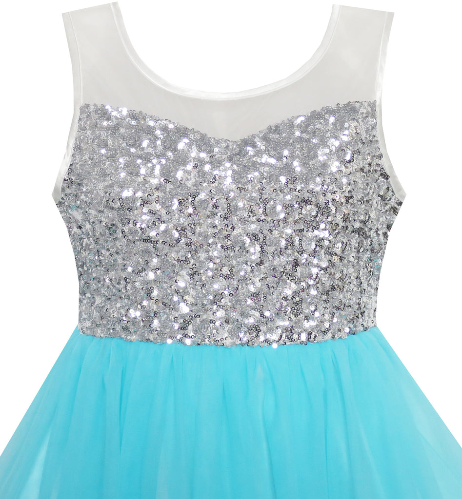 Girls Dress Sequin Mesh Party Wedding Princess Tulle Blue – Sunny ...