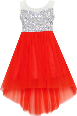 Girls Dress Sequin Mesh Party Wedding Princess Tulle Red Size 7-14 Years