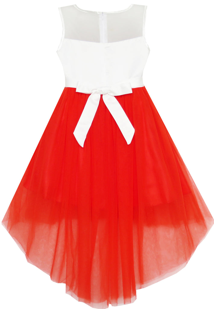 Girls Dress Sequin Mesh Party Wedding Princess Tulle Red
