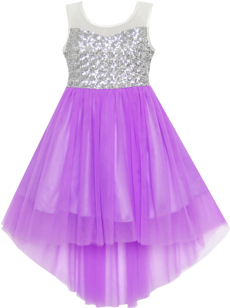 Girls Dress Sequin Mesh Party Wedding Princess Tulle Purple Size 7-14 Years