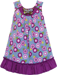 Girls Dress Cotton Floral Print Beaded Butterfly Purple Size 7-14 Years