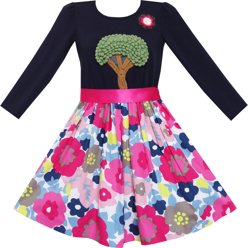 Girls Dress Knitting Tree Floral Pattern Long Sleeve Size 7-14 Years