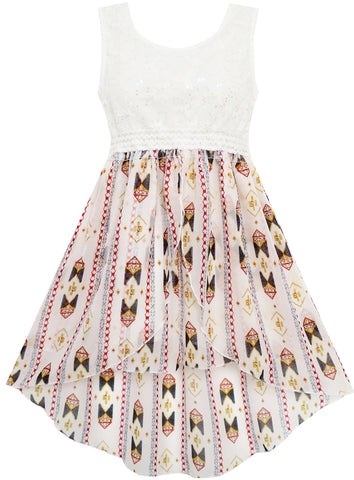 Girls Dress Hi-Lo Maxi Sequin Chiffon Lace Beige Size 7-14 Years