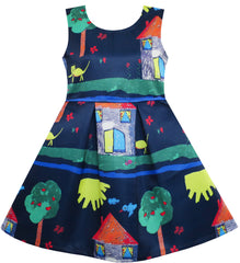 Girls Dress Tree House Cat Butterfly Bird Flower Print Size 4-10 Years