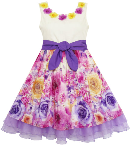 Girls Dress Blooming Flower Bow Tie Layered Organza Size 7-14 Years