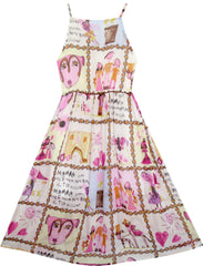 Girls Dress Halter Hand Drawing Print Sleeveless Size 7-14 Years