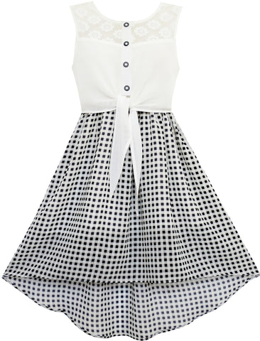 Girls Dress Lace To Chiffon Checkered Black White Tied Waist Size 7-14 Years