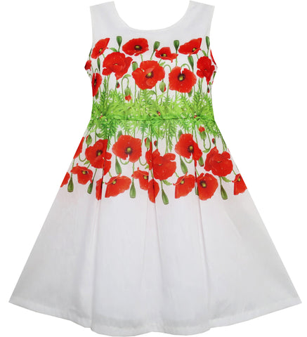 Girls Dress Flower Garden Grass Print Elegant Chinese Style Size 4-10 Years