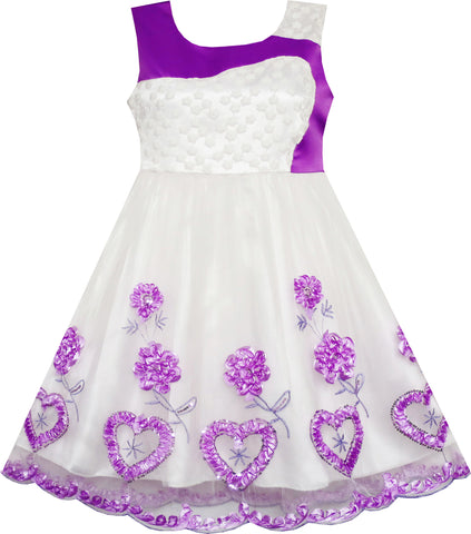 Girls Dress Lace Embroidered Flower Heart Tulle Wedding Purple Size 4-10 Years