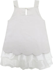 Girls Dress Tank Embroidered Cat Pattern Gray Size 2-6 Years